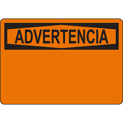 OSHA ADVERTENCIA Header Orange Sign