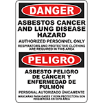 DANGER Asbestos Cancer And Lung Disease Hazard Bilingual Sign
