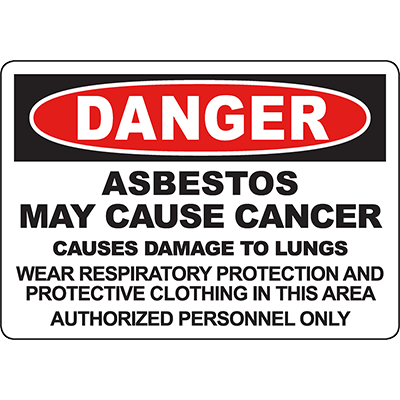 DANGER Asbestos May Cause Cancer Wear Respiratory Protection Sign