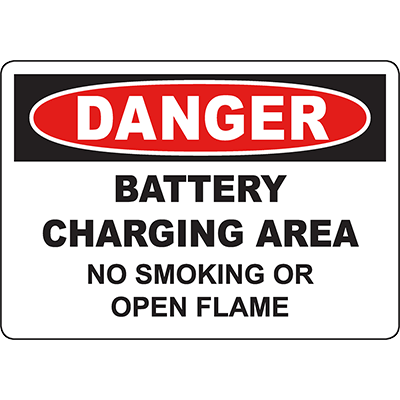 DANGER Battery Charging Area No Smoking Or Open Flame Sign