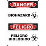 DANGER Biohazard Bilingual Sign