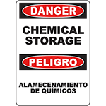 DANGER Chemical Storage Bilingual Sign
