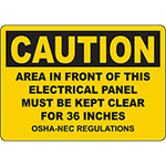 CAUTION Panel Must Be Kept Clear For 36 Inches OSHA-NEC Sign