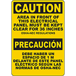 CAUTION Electrical Panel Must Be Kept Clear Bilingual Sign
