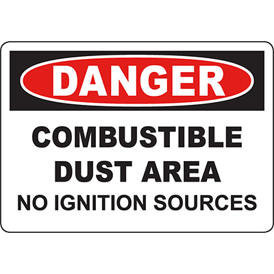 DANGER Combustible Dust Area No Ignition Sources Sign
