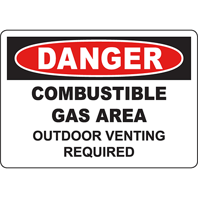 DANGER Combustible Gas Area Outdoor Venting Required Sign