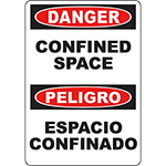 DANGER Confined Space Bilingual Sign