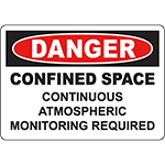 DANGER Continuous Atmospheric Monitoring Required Sign