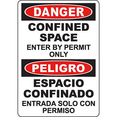DANGER Confined Space Enter By Permit Only Bilingual Sign
