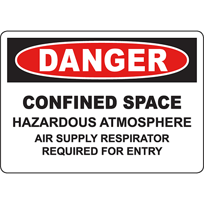 DANGER Confined Space Air Respirator Required Sign