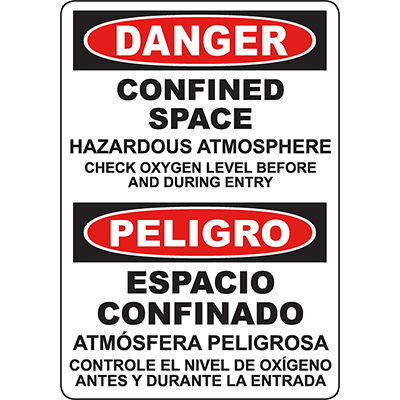 DANGER Confined Space Hazardous Atmosphere Bilingual Sign