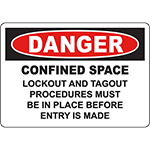 DANGER Lockout Tagout Procedures Before Entry Sign