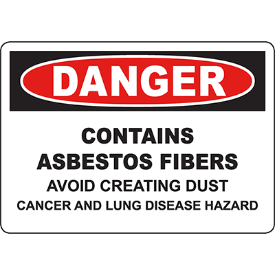 DANGER Contains Asbestos Avoid Creating Dust Sign