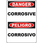 DANGER Corrosive Bilingual Sign