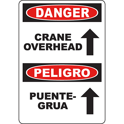 DANGER Crane Overhead Bilingual Sign