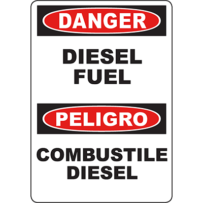 DANGER Diesel Fuel Bilingual Sign