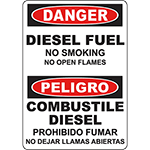 DANGER Diesel Fuel No Smoking Bilingual Sign