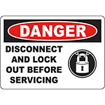 DANGER Disconnect And Lock Out Before Servicing Sign