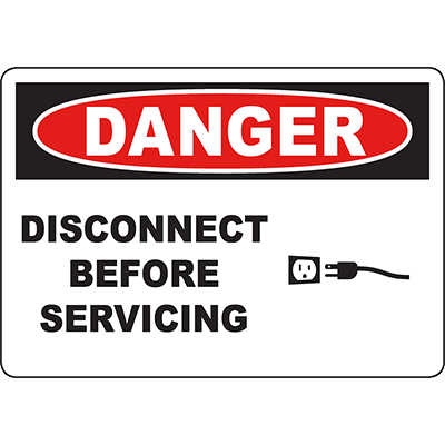DANGER Disconnect Before Servicing Sign w/Symbol