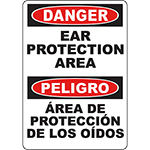 DANGER Ear Protection Area Bilingual Sign