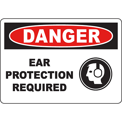 DANGER Ear Protection Required Sign w/Symbol