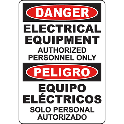 DANGER Electrical Equipment Bilingual Sign