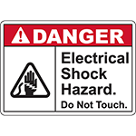 DANGER Electrical Shock Hazard Do Not Touch Sign