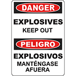 DANGER Explosives Bilingual Sign