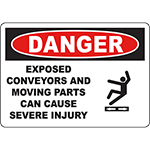 DANGER Exposed Conveyors Can Cause Injury Sign