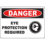 DANGER Eye Protection Required Sign w/Symbol