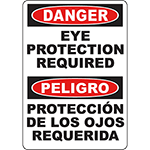 DANGER Eye Protection Required Bilingual Sign