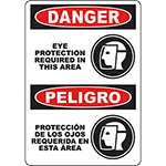 DANGER Eye Protection Required In This Area Bilingual Sign