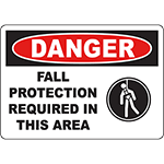 DANGER Fall Protection Required In This Area Sign w/Symbol