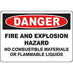 DANGER Fire Hazard No Combustible Materials Sign
