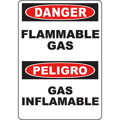 DANGER Flammable Gas Bilingual Sign