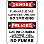 DANGER Flammable Gas Keep Fire Or Flame Away Bilingual Sign