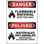DANGER Flammable Material Keep Fire Away Bilingual Sign