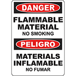 DANGER Flammable Material No Smoking Bilingual Sign