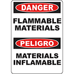 DANGER Flammable Materials Bilingual Sign