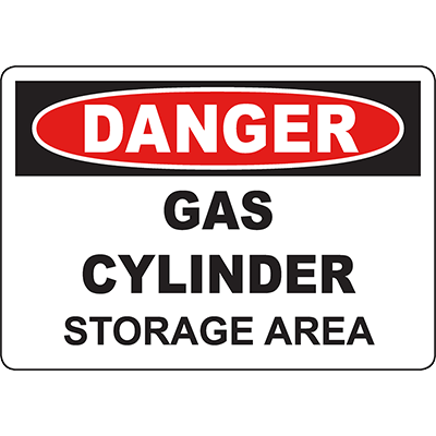 DANGER Gas Cylinder Storage Area Sign