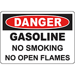 DANGER Gasoline No Smoking No Open Flames Sign