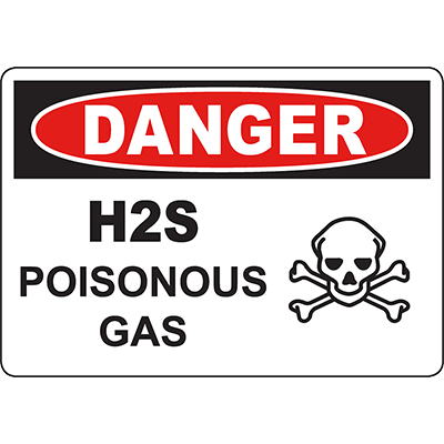 DANGER H2S Poisonous Gas Sign