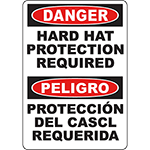 DANGER Hard Hat Protection Required Bilingual Sign