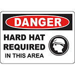 DANGER Hard Hat Required In This Area Sign w/Symbol