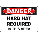 DANGER Hard Hat Required In This Area Sign