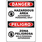 DANGER Hazardous Area Bilingual Sign