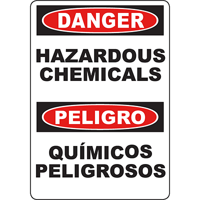 DANGER Hazardous Chemicals Bilingual Sign
