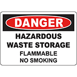 DANGER Hazardous Storage Flammable No Smoking Sign