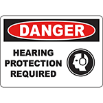 DANGER Hearing Protection Required Sign w/Symbol