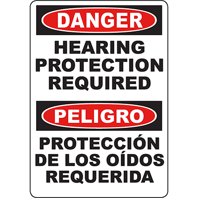 DANGER Hearing Protection Required Bilingual Sign